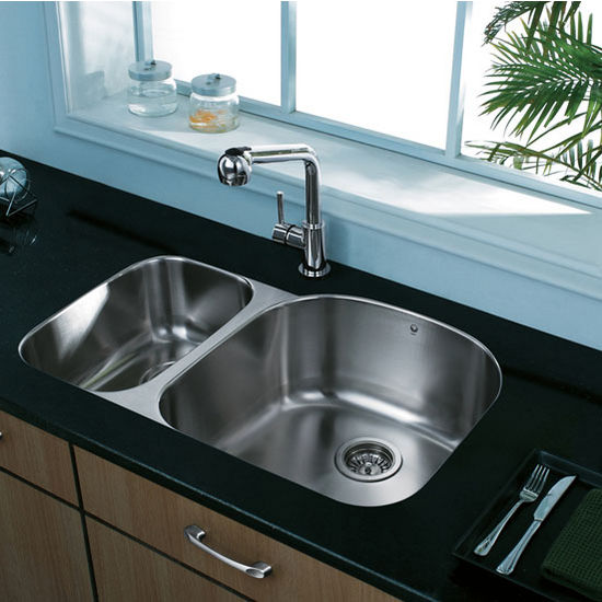 "31"" Undermount Kitchen Sink with Small Bowl on Left, Two Grids and Two Strainers, Stainless Steel Finish, 31-1/2""W x 20-1/2""D"