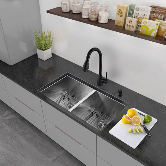 "32"" Undermount Kitchen Sink, Two Grids and Two Strainers, Stainless Steel Finish, 32""W x 19""D"