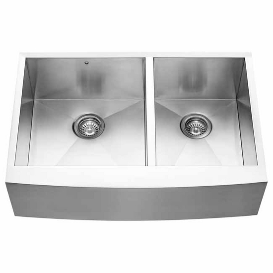 24 Inch Stainless Steel Farmhouse Sink : ... 33-inch Farmhouse Stainless Steel 16 Gauge Double Bowl Kitchen Sink