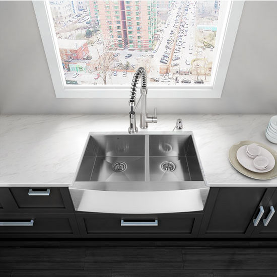 """33"""" Farmhouse Kitchen Sink, Two Grids and Two Strainers, Stainless Steel Finish, 33""""W x 22-1/4""""D"""