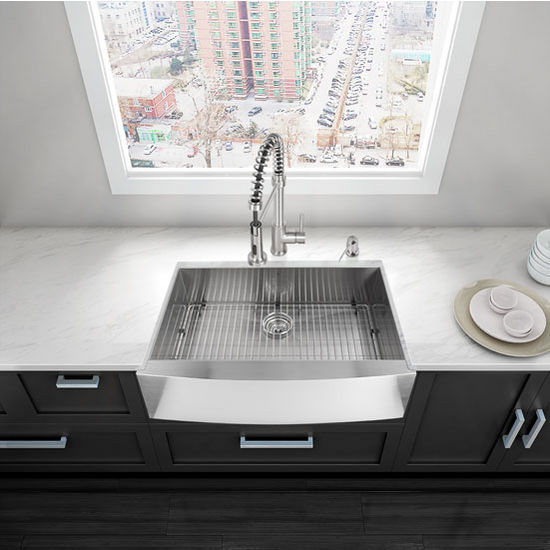 """33"""" Farmhouse Kitchen Sink, Grid and Strainer, Stainless Steel Finish, 33""""W x 22-1/4""""D"""