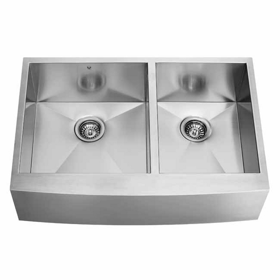 24 Inch Stainless Steel Farmhouse Sink : ... 36-inch Farmhouse Stainless Steel 16 Gauge Double Bowl Kitchen Sink