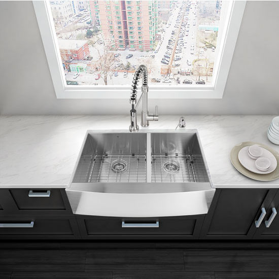 "36"" Farmhouse Kitchen Sink, Two Grids and Two Strainers, Stainless Steel Finish, 36""W x 22-1/4""D"