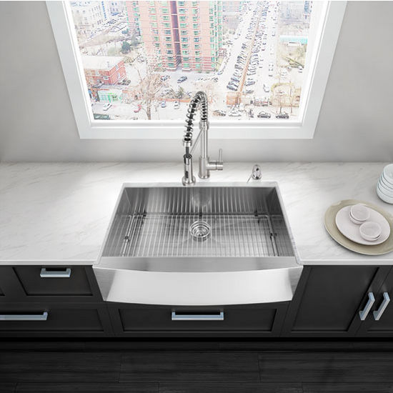 """36"""" Farmhouse Kitchen Sink, Grid and Strainer, Stainless Steel Finish, 36""""W x 22 1/4 """"D"""