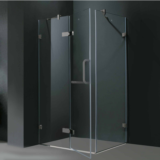 "Vigo 32"" x 32"" Frameless 3/8"" Clear/Brushed Nickel Shower Enclosure"