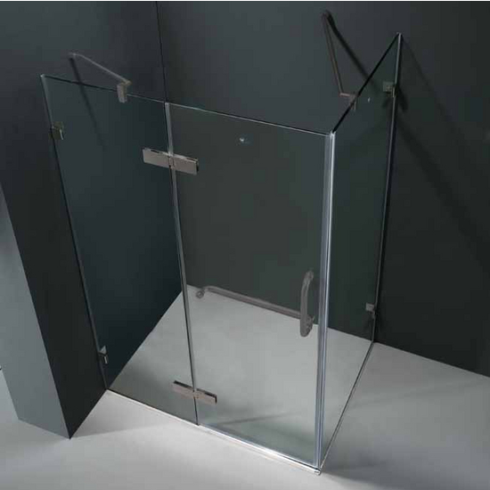 "Vigo 32"" x 40"" Frameless 3/8"" Clear/Brushed Nickel Shower Enclosure"