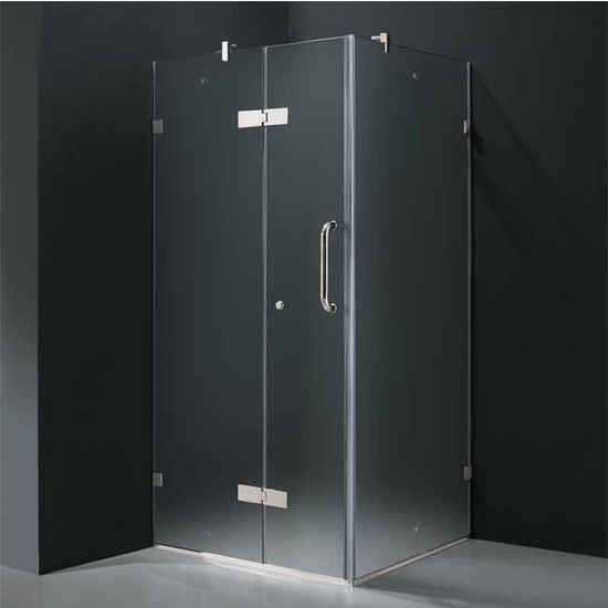 "Vigo 36"" x 36"" Frameless 3/8"" Clear/Chrome Shower Enclosure"