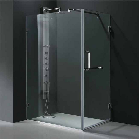 "Vigo 36"" x 48"" Frameless 3/8"" Clear/Chrome Shower Enclosure"