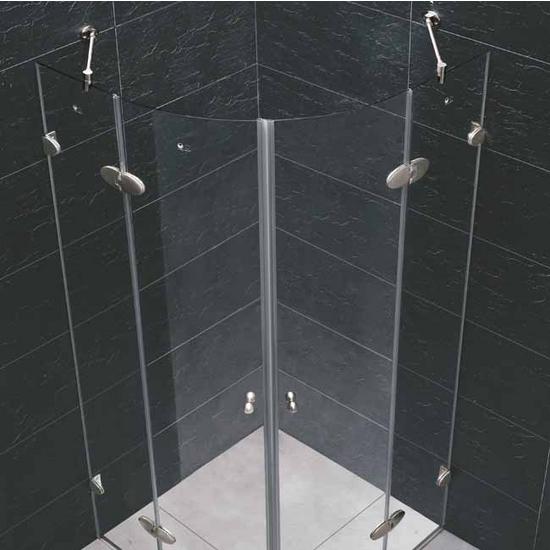 "Vigo 36"" x36"" Frameless Neo-Round 1/4"" Clear/Brushed Nickel Shower Enclosure"