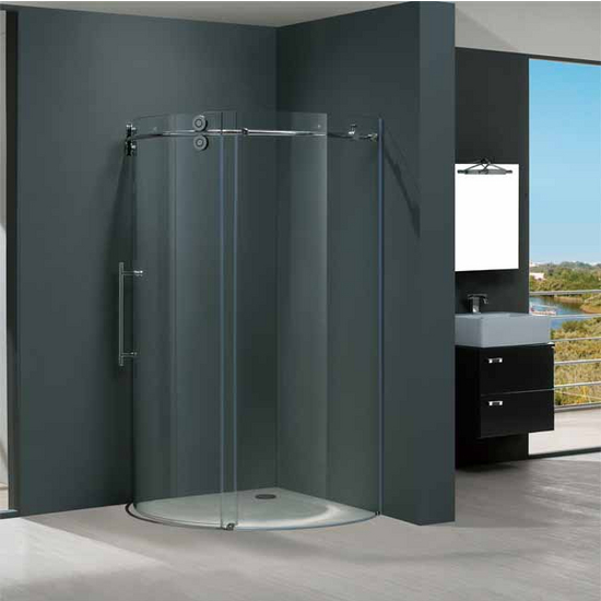 "Vigo 36"" x36"" Frameless Round 5/16"" Clear/Chrome Shower Enclosure Left-Sided Door"