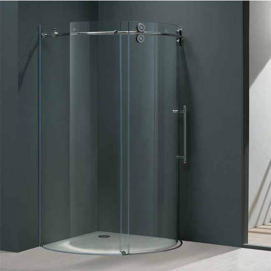 "Vigo 36"" x36"" Frameless Round 5/16"" Clear/Chrome Shower Enclosure Right-Sided Door"