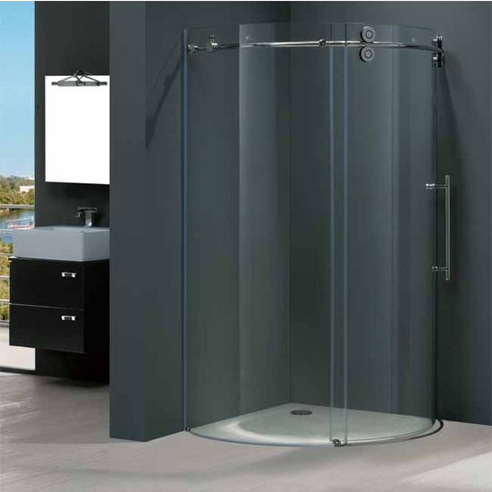 "Vigo 40"" x40"" Frameless Round 5/16"" Clear/Chrome Shower Enclosure Right-Sided Door"