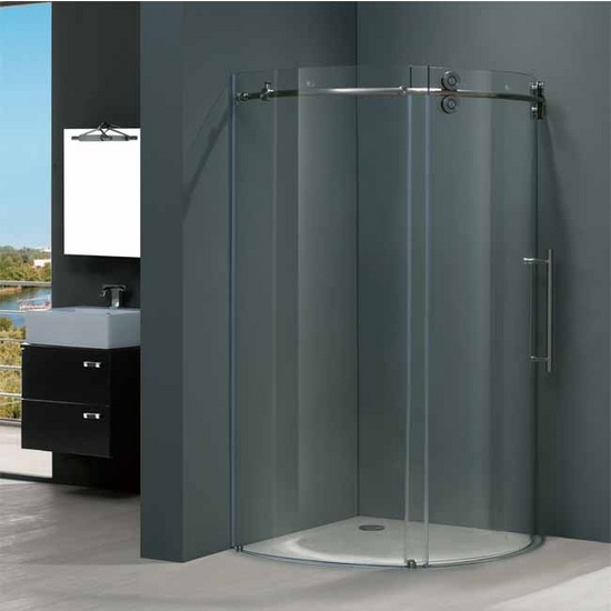 "Vigo 36"" x36"" Frameless Round 5/16"" Clear/Stainless Steel Shower Enclosure Right-Sided Door"