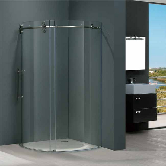 "Vigo 40"" x40"" Frameless Round 5/16"" Clear/Stainless Steel Shower Enclosure Left-Sided Door"