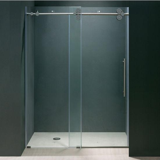 Vigo 52'' Frameless Shower Door 3/8'' Thick Clear Tempered Glass and Chrome Hardware, 27-3/4'' W Door Size x 74'' Door Height