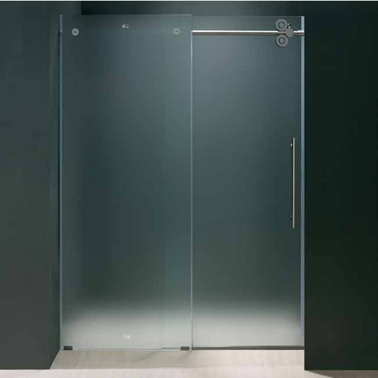 "Vigo 72-inch Frameless Shower door 3/8"" Frosted Glass Chrome Hardware Right"