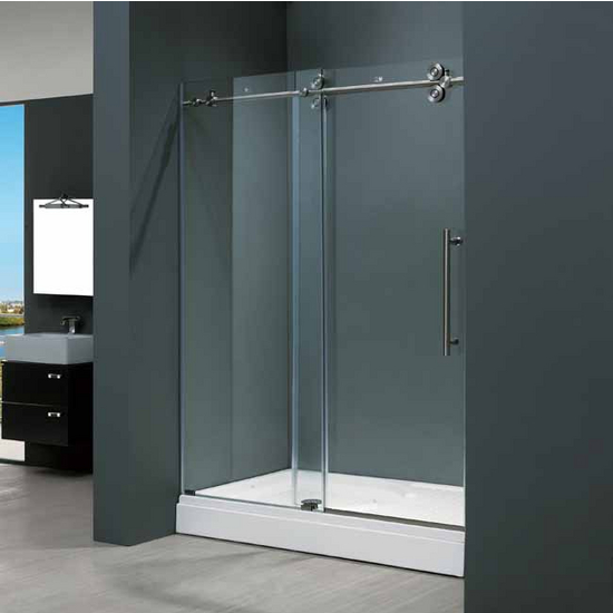 "Vigo 48-inch Frameless Shower door 3/8"" Clear Glass Stainless Steel Hardware"