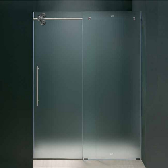 "Vigo 60-inch Frameless Shower door 3/8"" Frosted Glass Stainless Steel Hardware Left"