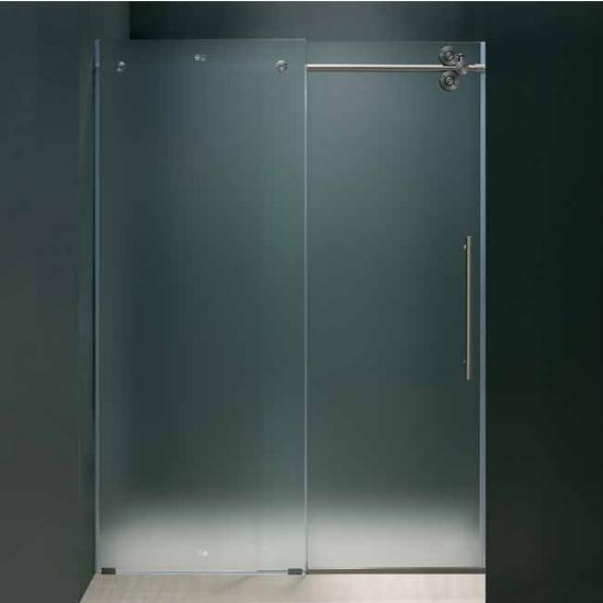 """Vigo 72-inch Frameless Shower door 3/8"""" Frosted Glass Stainless Steel Hardware Right"""