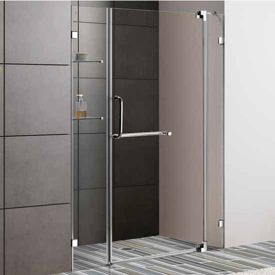 "Vigo 54-Inch Frameless Shower Door, 3/8"" Clear Glass Brushed Nickel Hardware"