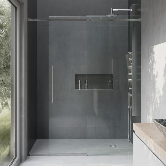 Luca Frameless Glass Shower Door With Metal Hardware By Vigo