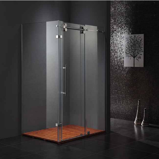 "Vigo 36� x 48� Frameless 3/8"" Clear/Chrome Shower Enclosure"