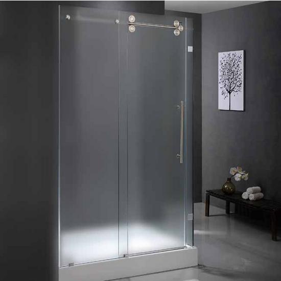 """Vigo 36� x 60� Frameless 3/8"""" Frosted/Stainless Steel Shower Enclosure Left"""