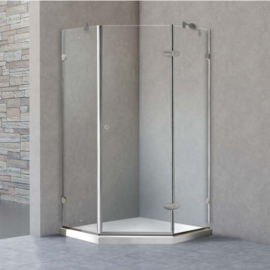"Vigo Shower Enclosure with Low-Profile Base, 38 1/8"" W x 38 1/8"" L x 76 3/4"" H"