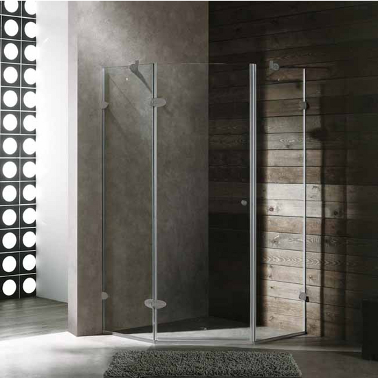 "Vigo 42"" x 42"" Frameless Neo-Angle 3/8"" Clear/Brushed Nickel Shower Enclosure"