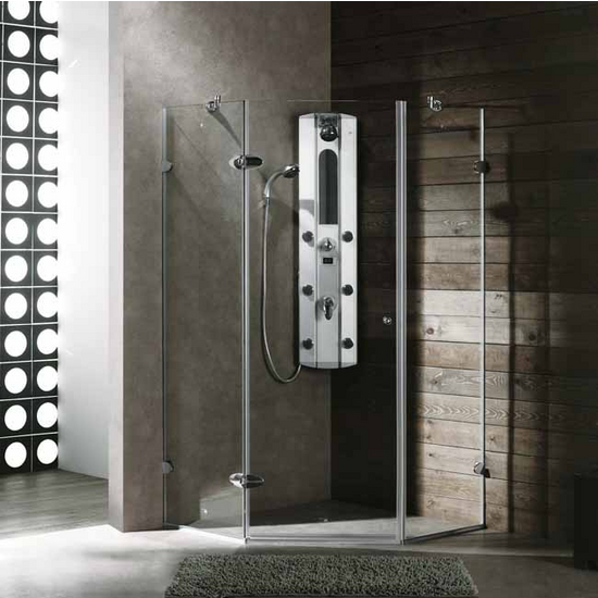 "Vigo 40"" x 40"" Frameless Neo-Angle 3/8"" Clear/Chrome Shower Enclosure"