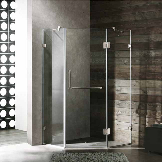 "Vigo 36"" x 36"" Frameless Neo-Angle 3/8"" Clear/Brushed Nickel Shower Enclosure"