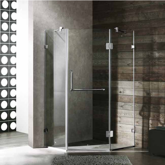 "Vigo 36"" x 36"" Frameless Neo-Angle 3/8"" Clear/Chrome Shower Enclosure"