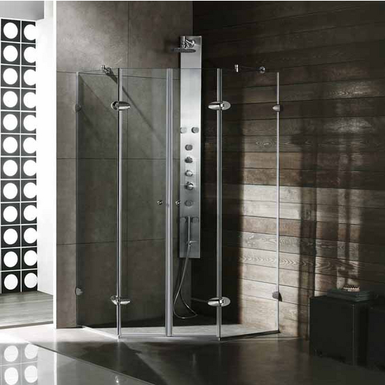 "Vigo 42"" x 42"" Frameless Neo-Angle 3/8"" Clear/Chrome Shower Enclosure"