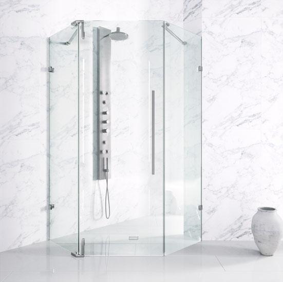 Shower Enclosure w/ Chrome Hardware & No Base