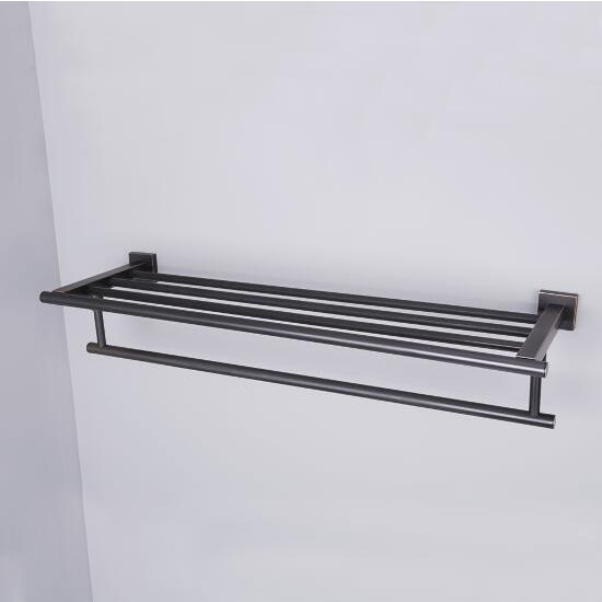"Vigo Allure 24"" Square Design Hotel Style Rack and Towel Bar in Antique Rubbed Bronze, Brushed Nickel, Oil Rubbed Bronze or Chrome"