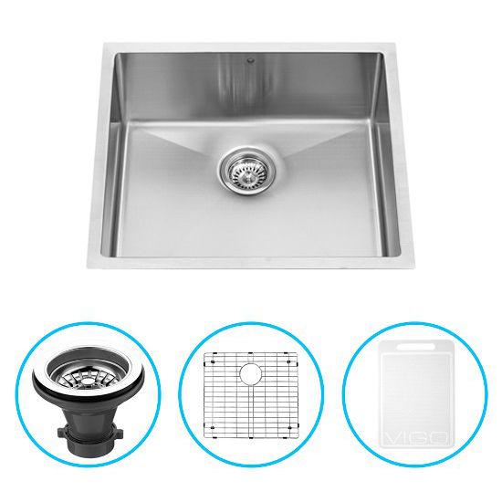 Vigo 23-Inch Undermount Stainless Steel Kitchen Sink, Grid And Strainer