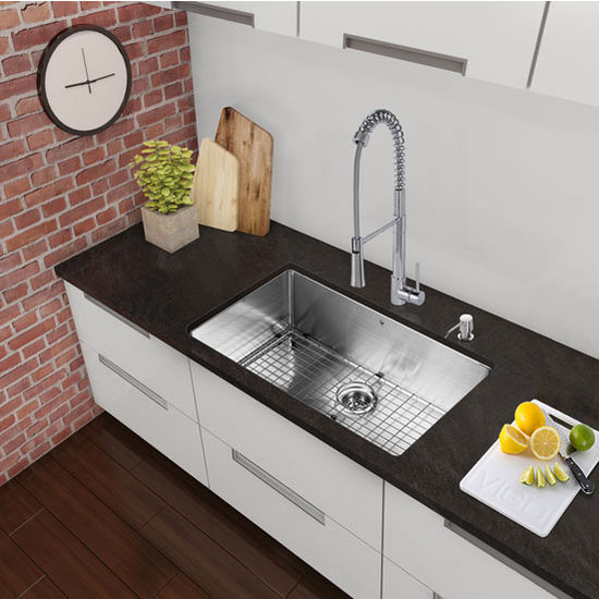 "30"" Undermount Kitchen Sink with Curved Corners, Grid and Strainer, Stainless Steel Finish, 30""W x 19""D"