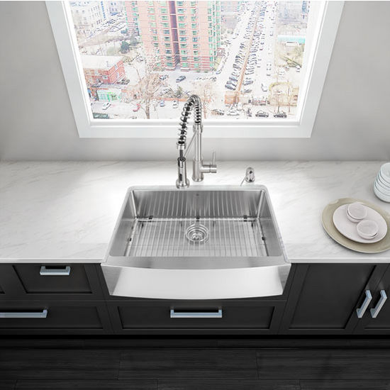 "30"" Farmhouse Stainless Steel Kitchen Sink, Grid And Strainer"