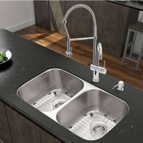 32'' Undermount Stainless Steel 18 Gauge Double Bowl Kitchen Sink