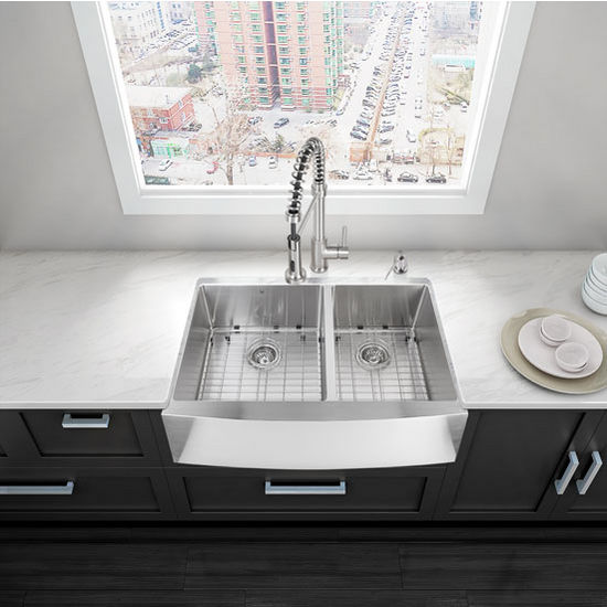 """33"""" Farmhouse Kitchen Sink with Curved Corners, Two Grids and Two Strainers, Stainless Steel Finish, 33""""W x 22-1/4""""D"""