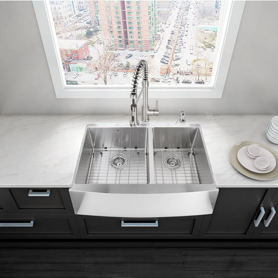 "36"" Farmhouse Stainless Steel Kitchen Sink, Two Grids And Two Strainers"