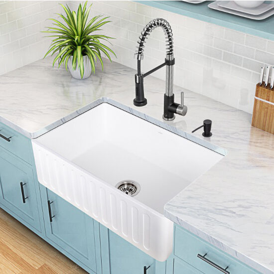 Reversible Matte White Stone Farmhouse Kitchen Sinks in Multiple ...