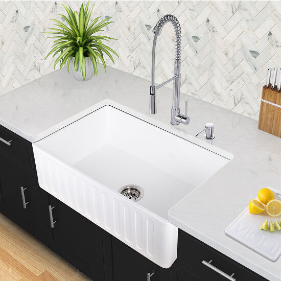 Reversible Matte White Stone Farmhouse Kitchen Sinks In