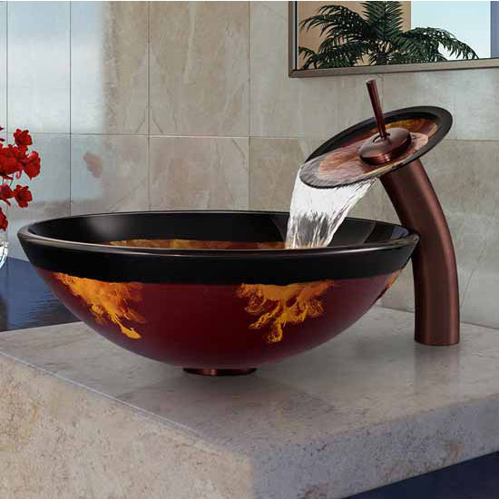 "Vigo Auburn/Mocha Fusion Glass Vessel Sink And Waterfall Faucet Set In Oil Rubbed Bronze - 16-1/2"" Diameter x 6""H"