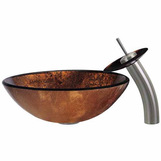 Vigo Russet Glass Sink and Faucet Set