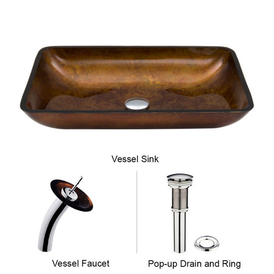 "Vigo VIG-VGT007CHRCT, Rectangular Russet Glass Vessel Sink and Waterfall Faucet Set in Chrome, 22-1/4"" W x 14-1/2"" D x 4-1/2"" H"