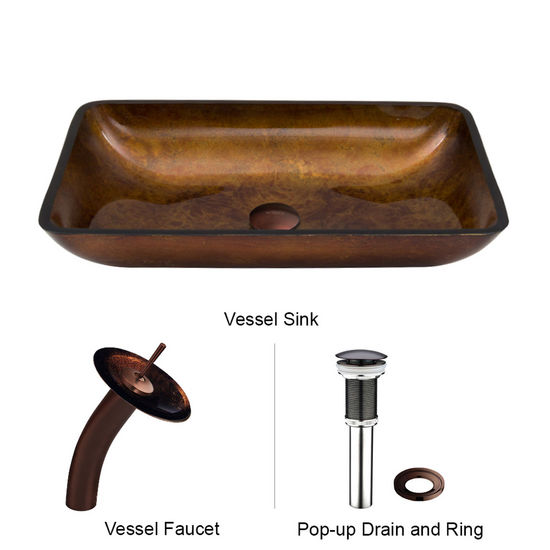 "Vigo VIG-VGT007RBRCT, Rectangular Russet Glass Vessel Sink and Waterfall Faucet Set in Oil Rubbed Bronze, 22-1/4"" W x 14-1/2"" D x 4-1/2"" H"
