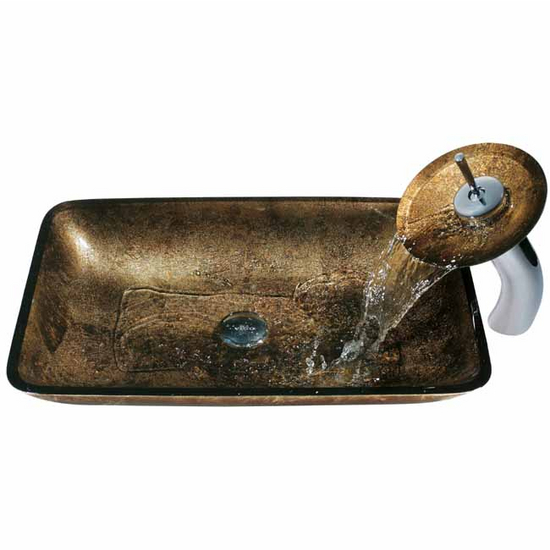 Vigo Copper Glass Sink and Faucet Set
