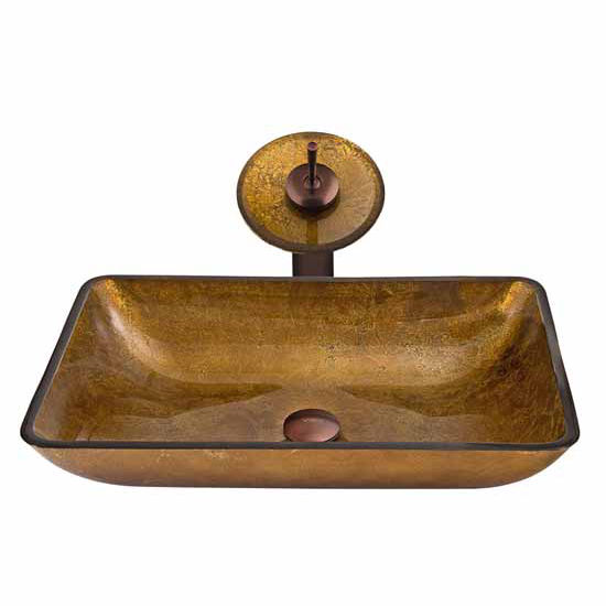 "Vigo Rectangular Copper Glass Vessel Sink And Waterfall Faucet Set In Oil Rubbed Bronze - 14-1/8""L x 22-1/4""W x 4-1/2""H"