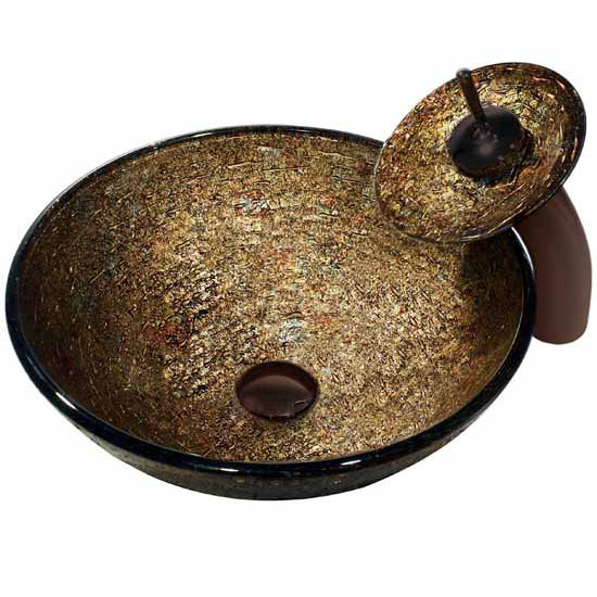 "Vigo Textured Copper Glass Vessel Sink And Waterfall Faucet Set In Oil Rubbed Bronze - 16-1/2"" Diameter x 6""H"